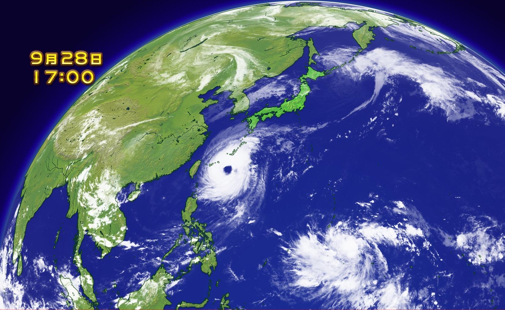 大型で非常に強い台風24号が沖縄地方へ進んできています。 渦を巻く発達した雲に、大きな眼。 衛星画像を見ても、すごい存在感です。